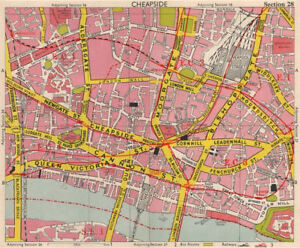 Map Of City Of London.City Of London Ec1 Ec2 Ec3 Ec4 Post Office Broad Street Station