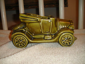 Vintage McCoy USA Car Planter Green Automobile Planter Ceramic Pottery Large Car