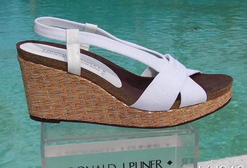 Donald Pliner Couture Platform Metallic Straw Wedge shoes New Sz 10 Cork Mid  235
