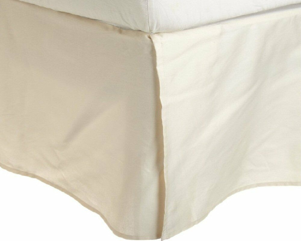 Extra PKT 1 Qty Bed Skirt  Pima Cotton 1000 TC All US Size Ivory Solid...