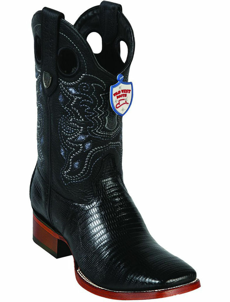 WILD WEST véritable noir Tégu Lizard Cowboy démarrage Ranch-grand Square-Toe (Extra grand +)