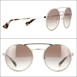 d32b8b0f34 Image is loading PRADA-sunglasses-women-Round-Silver-Brown-Gradient-Mirror-