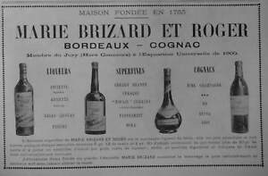 PUBLICITE-DE-PRESSE-1903-MARIE-BRIZARD-ET-ROGER-BORDEAUX-COGNAC-ADVERTISING