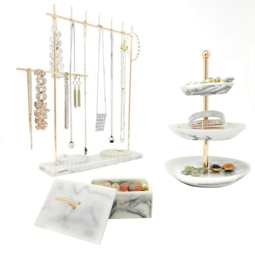 Easily Organize Necklaces Earrings Rings Rose Gold Jewelry Organizer Set 3