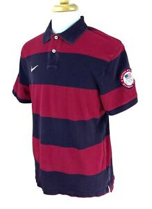 Nike-Men-039-s-US-Olympic-Team-Mesh-Short-Sleeve-Polo-Red-Purple-Stripe-Shirt-XL