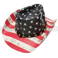Old West July 4th Cowboy Hat American USA Flag Summer Party Beach Cap Unisex
