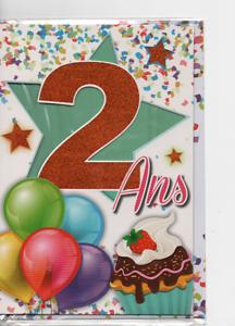 Carte Voeux Joyeux Anniversaire 2ans Ballons Etoiles 18 5 X 11 5 Cm