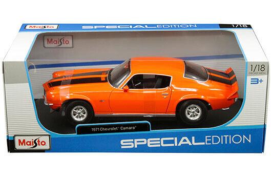 1971 CHEVROLET CAMARO ORANGE 1/18 SCALE DIECAST CAR MODEL BY MAISTO 31131