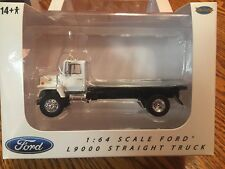 Ford L9000 White Flat Bed Truck 1/64 By Top Shelf Replicas