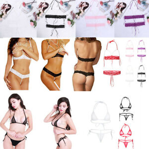 3e0caf1cf4f Sexy Womens Bikini Set Bra Micro G-string Lace Pearls Thong ...