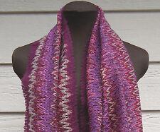 NEW $225 Missoni Orange Label Scarf Chevron Purple Wool Mohair Fringe Metallic