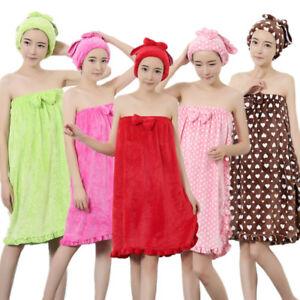 332bb68108 2PC Set Women Absorbent Soft Shower SPA Body Wrap Robe Bath Towel + ...