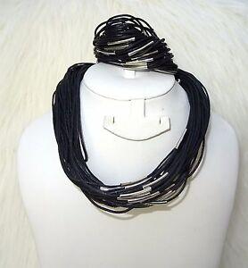 Multi-Strands-Black-Retro-Fashion-Retro-Necklace-Bracelet-Jewellery-Set