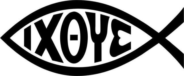 Aufkleber Sticker Auto Motorrad Fisch Christentum Ichthys Ixoye Symbol Schwarz