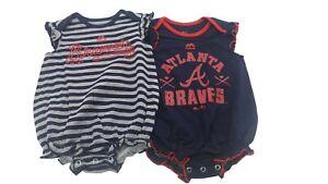 Atlanta-Braves-Majestic-MLB-Baby-Infant-Girls-Size-2-Creeper-Bodysuit-Set-New
