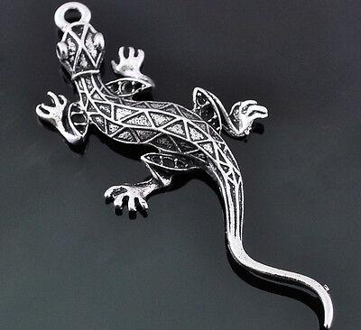 7/35pcs Antique Silver  Nickle Lead Free Alloy Cute Lizard Pendant 31*72mm E820