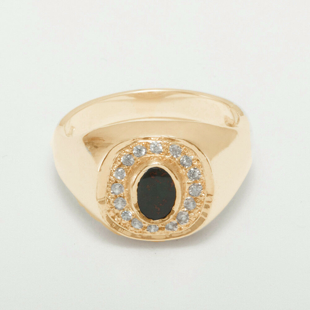 10k pink gold Natural Bloodstone & Diamond Mens Signet Ring - Sizes 6 to 12