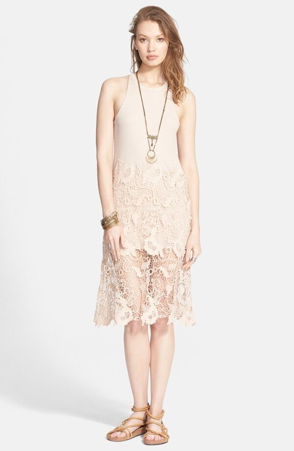 NWT Free People 'Nora' Lace Overlay Racerback Tank Dress Retail