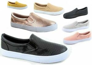 NEW-Soda-Women-039-s-Perforated-Slip-On-Flat-Round-Toe-Sneaker-Shoes-Size-5-5-11