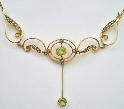 Stunning Antique Edwardian 9ct Gold Peridot & Seed Pearl set Drop Necklace c1905