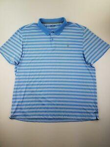 Izod Polo Shirt Mens Size 2XL Blue Striped Short Sleeve Golf Slim Fit A53-06