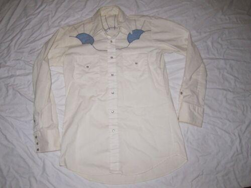 VTG 1970s Womens Western Shirt White & Blue Sunris