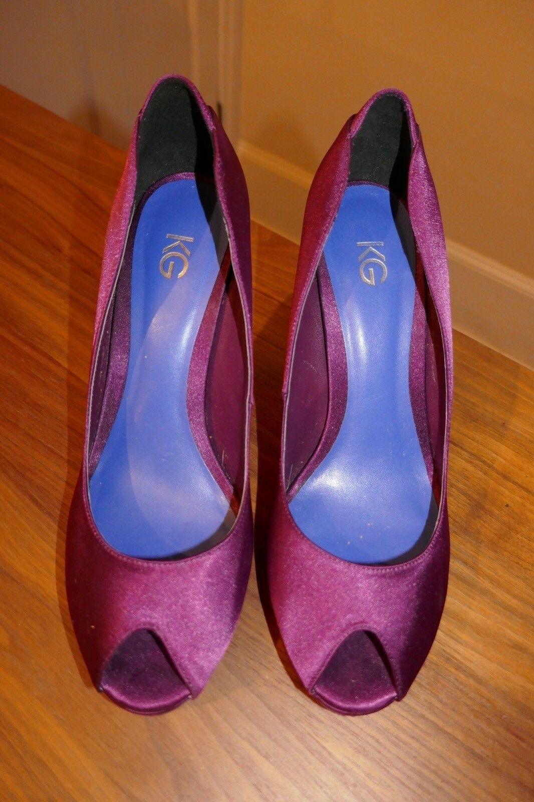 Ladies Miss KG (Kurt Geiger) Purple High Heel Peep toe shoes Size 37