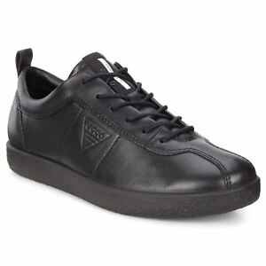 Ecco-Soft-1-Black-Womens-Leather-Lace-up-Low-profile-Shoes-Trainers
