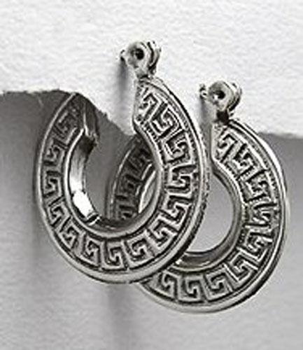 "4.4g Solid Sterling Silver GREEK KEY 1/"" Hoop Earrings Classic 6.5mm wideGORGEOUS"