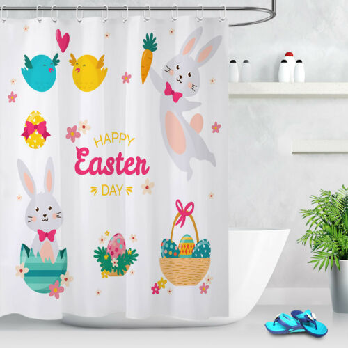 "60//72/"" Happy Easter Tropical Flamingo Bath Mat Decor Fabric Shower Curtain Liner"