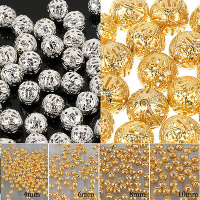 Fashion Round Filigree Spacer Alloy Handmade Beads Gold//Silver Plated 4//6//8//10mm
