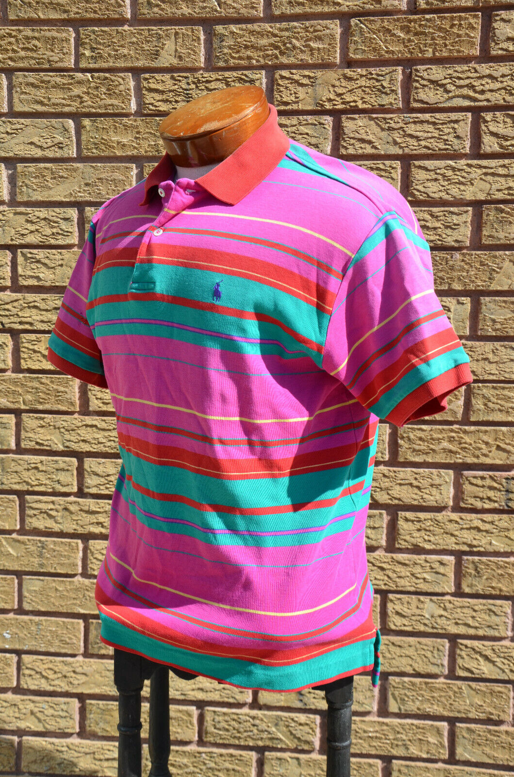 Vtg 80s 90s Neon Ralph Lauren Rugby Polo Shirt M/… - image 6