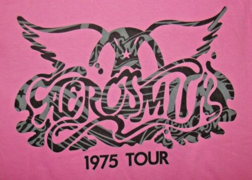 XL NEW OFFICIAL MERCHANDISE LADIES AEROSMITH 1975 LOGO PINK TOUR T-SHIRT sz S