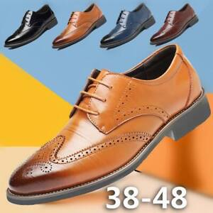 Men-039-s-Dress-Shoes-Pointed-Toe-Lace-Up-Modern-Brogue-Oxfords-Casual-Leather-Shoes
