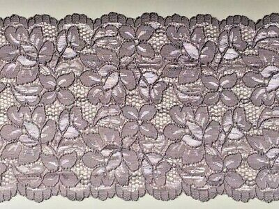 "laverslace Stunning Silver Grey Floral Wide Stretch Tulle Lace Trim 9/""//23cm"