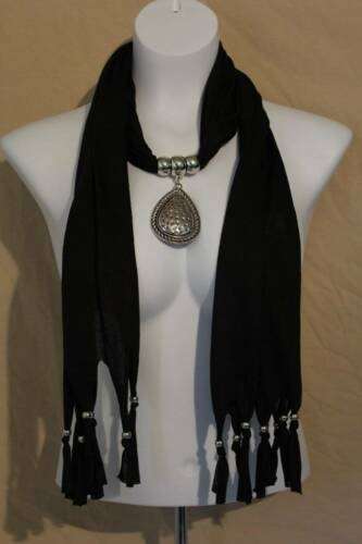 US Seller NEW Womens Necklace Scarf Fashion Black Teardrop Pendant Neck Wrap