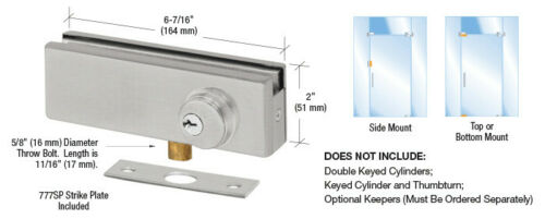 CRL Brushed Stainless AMR Series Patch Lock AMR205BS