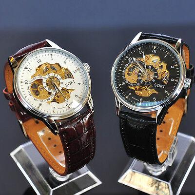 SOKI White Black Analog Skeleton Mens Mechanical Automatic Wrist Leather Watch