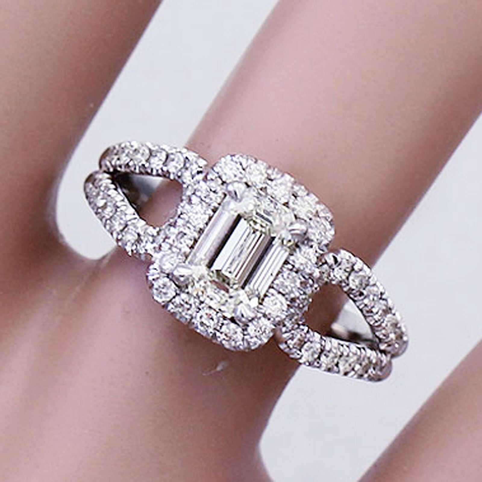 14K SOLID WHITE gold EMERALD CUT DIAMOND ENGAGEMENT RING DECO HALO 1.50CT