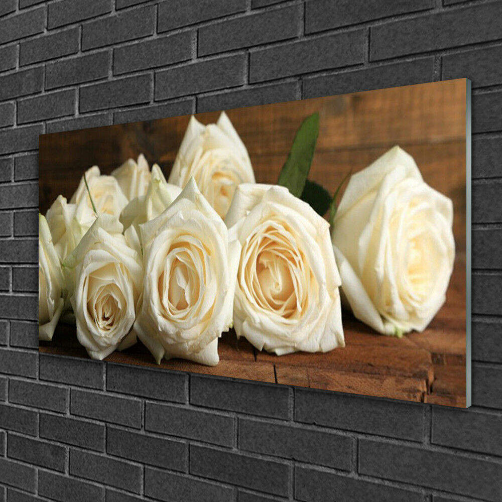 Tableau sur verre verre verre Image Impression 100x50 Floral Roses ecd03c