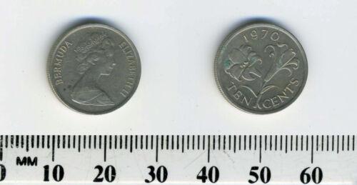 Bermuda 1970-10 Cents Copper-Nickel Coin Queen Elizabeth II Bermuda lily