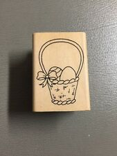A MUSE Artstamps  AMUSE RUBBER STAMP Easter Spring Basket With Eggs
