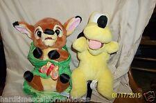 "Disneyland Disney's Babies Lot of 2 Bambi With Blanket And Pluto Plush 10"""