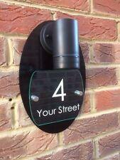 MODERN HOUSE SIGN PLAQUE DOOR NUMBER STREET GLASS EFFECT/ BLACK LED HOUSE LIGHT
