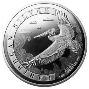 Barbados 1 Dollar 2021 Karibischer Pelikan - Premium-Anlagemünze 1 Oz Silber ST