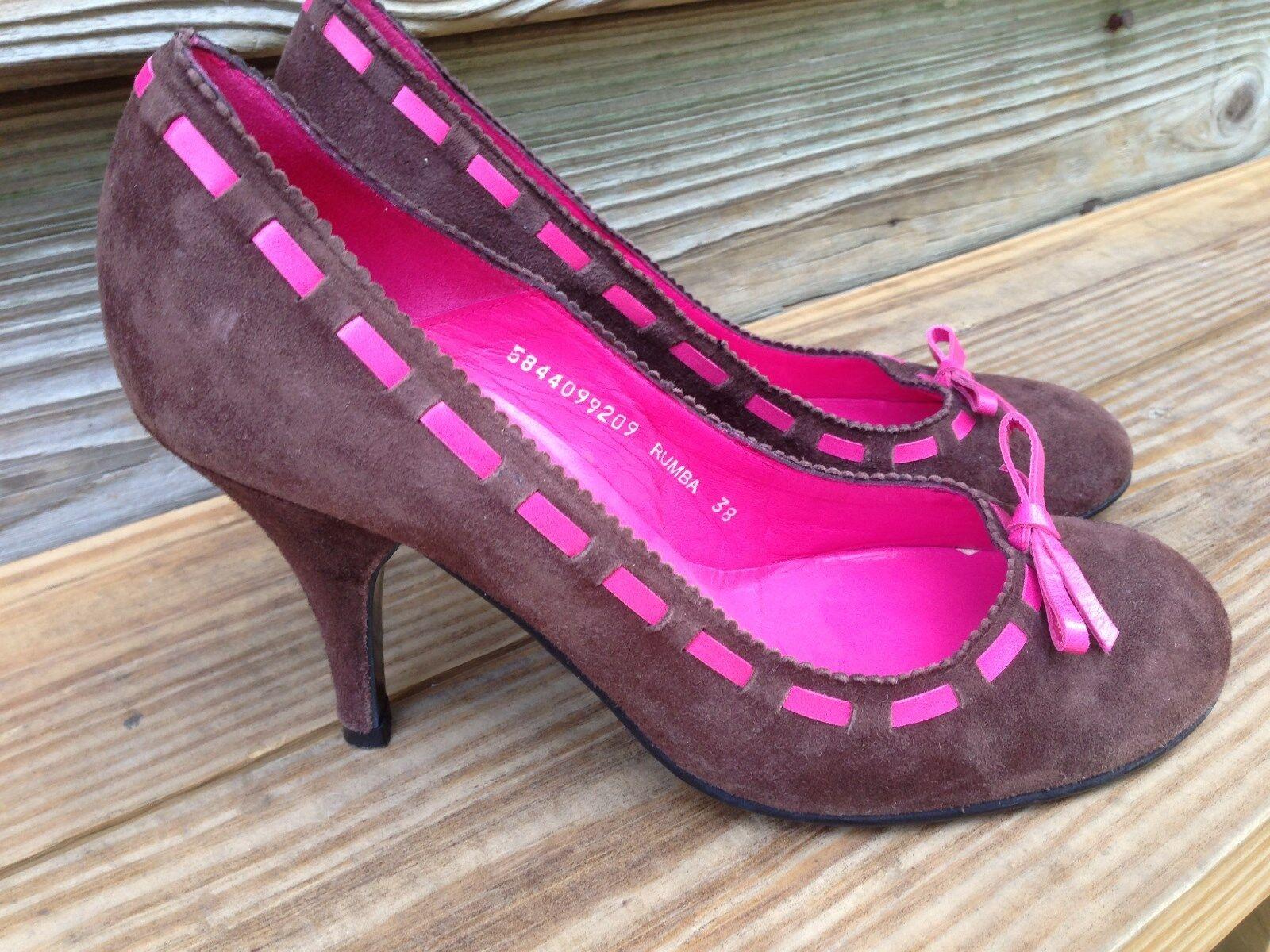 KG kurt geiger femmes pumps chaussures marron suede rose bow rumba  EUR 38 -7.5
