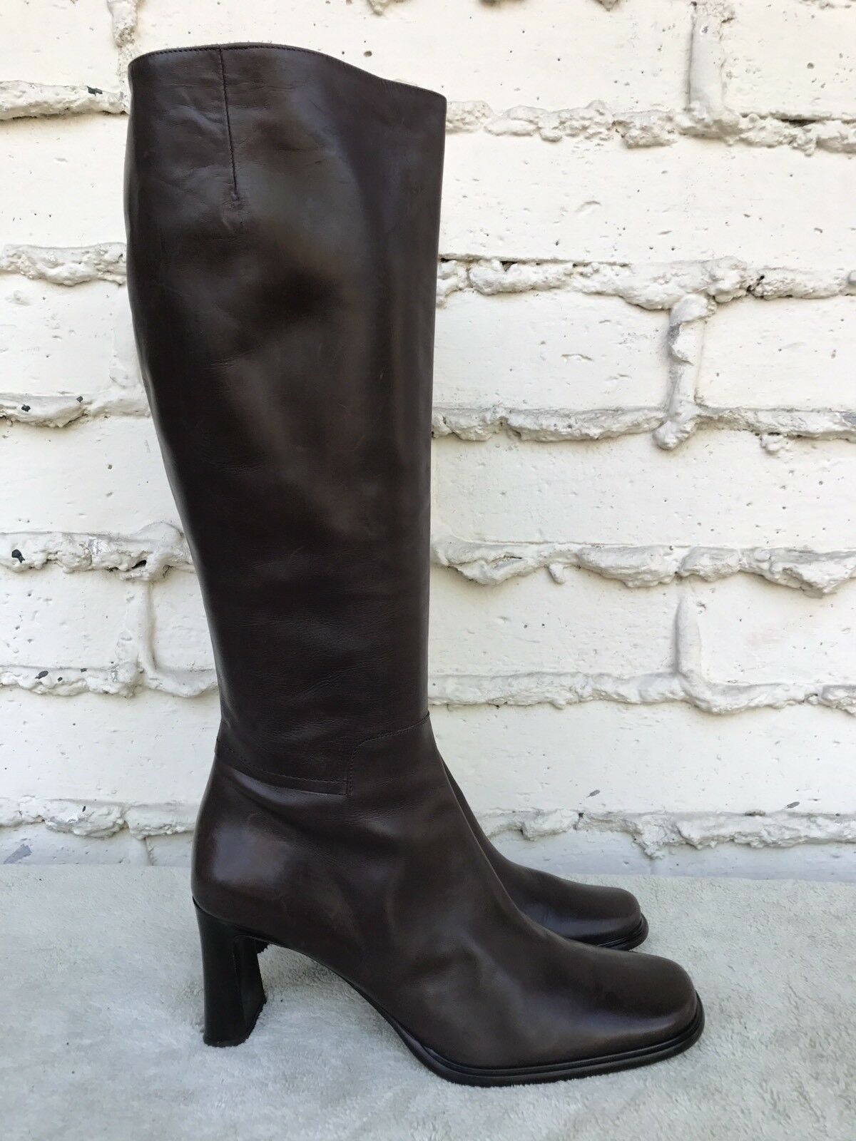Via Spiga Brown Leather Zip Knee High Heel Fashion Boots Womens Size US 9M