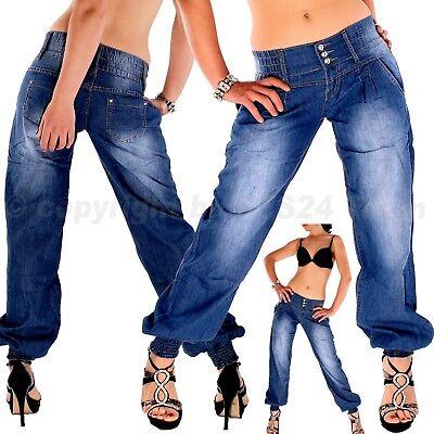 Damen Haremshose Pumphose Pluder Boyfriend Aladin Harem Jeans Hose Baggy XXL