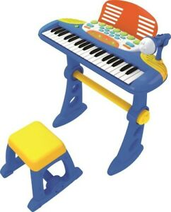 NEW-Children-039-s-Keyboard-With-Stool-And-Mic-Blue-from-Mr-Toys