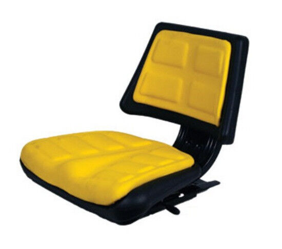 New Yellow Trapezoid Tractor Seat Ford John Deere Case IH Massey Allis White ++